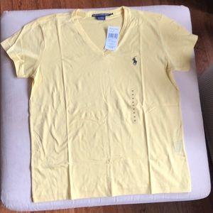 Ralph Lauren M yellow v neck t shirt